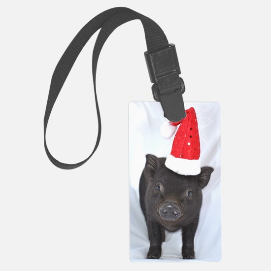 Micro pig with Santa hat Luggage Tag