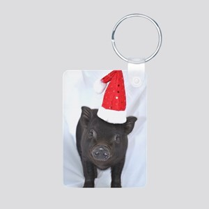 Micro pig with Santa hat Aluminum Photo Keychain