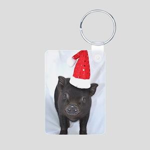 Micro pig with Santa hat Aluminum Photo Keychain