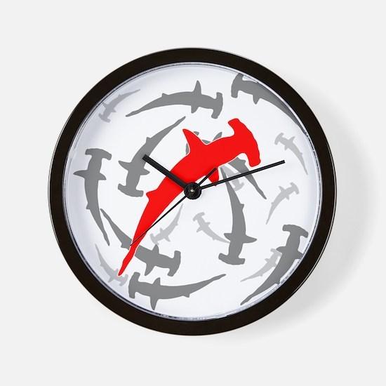 Circling Hammerhead Sharks Wall Clock