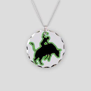 Bull-Riding-AC Necklace Circle Charm