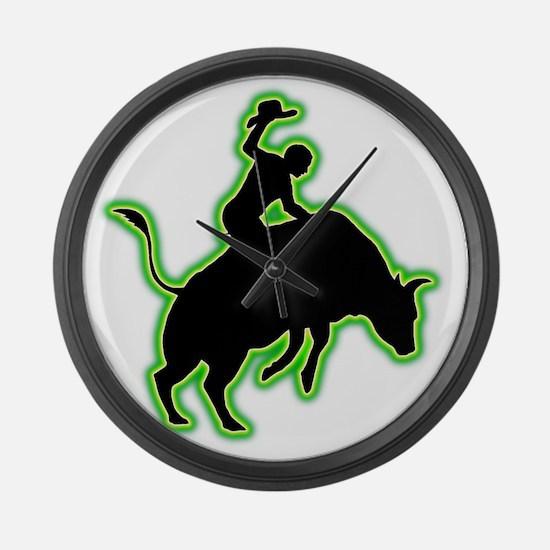 Bull-Riding-AC Large Wall Clock