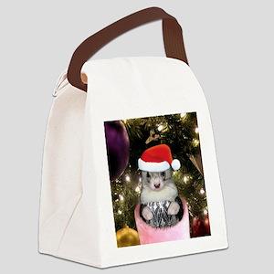 Ferret Santa Hat_Round Canvas Lunch Bag