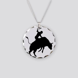 Bull-Riding-AA Necklace Circle Charm