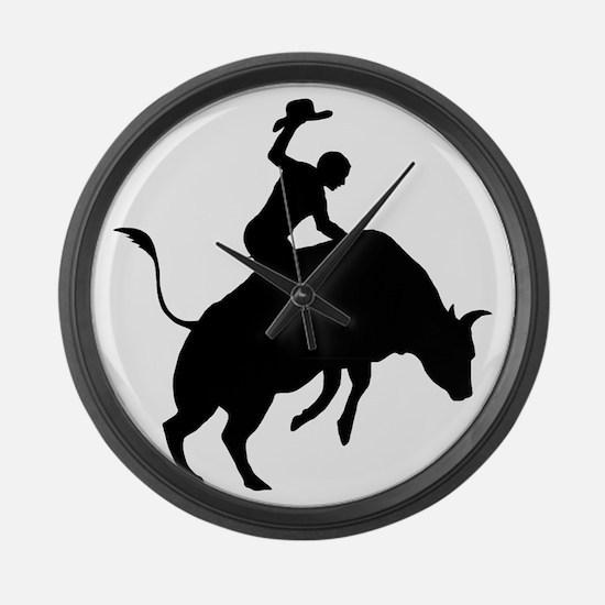 Bull-Riding-AA Large Wall Clock