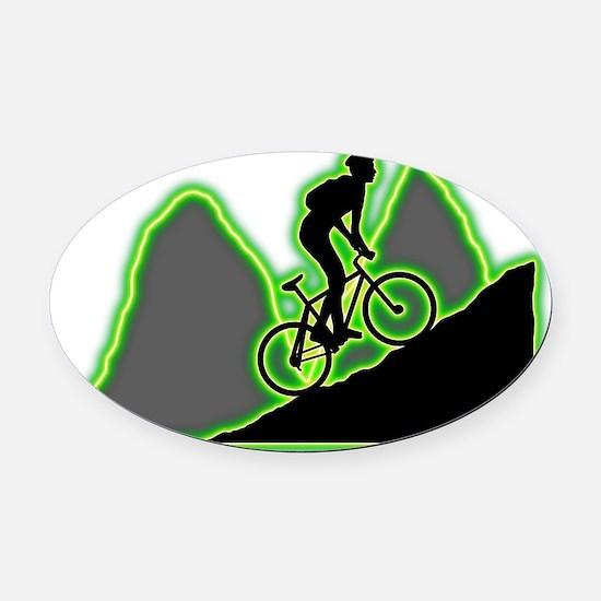 Mountain-Biking-AC Oval Car Magnet