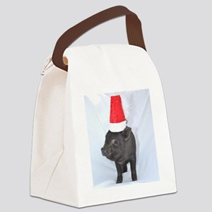 Santa micro pig square design Canvas Lunch Bag
