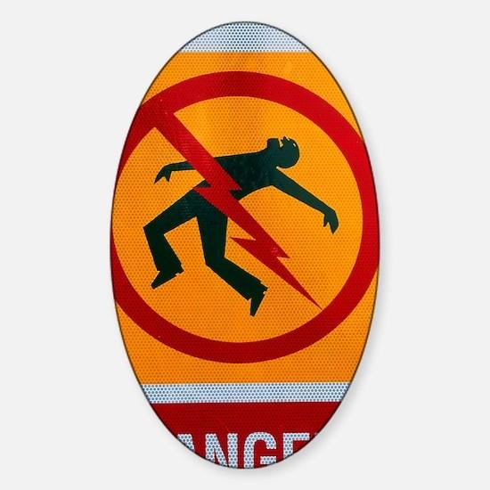 Electrocution hazard sign Sticker (Oval)