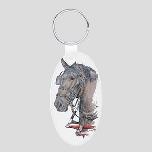 Percheron Draft horse harne Aluminum Oval Keychain