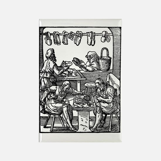 Engraving of cobblers making leat Rectangle Magnet