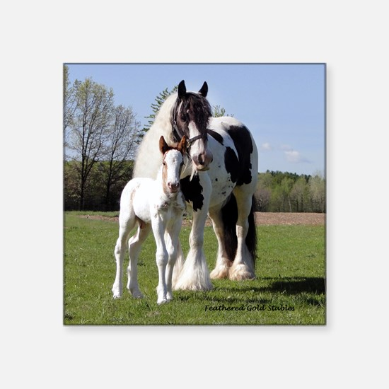 "Loving Gypsy mare and foal Square Sticker 3"" x 3"""