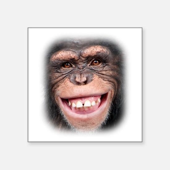 """Chipper Chimp Square Sticker 3"""" x 3"""""""