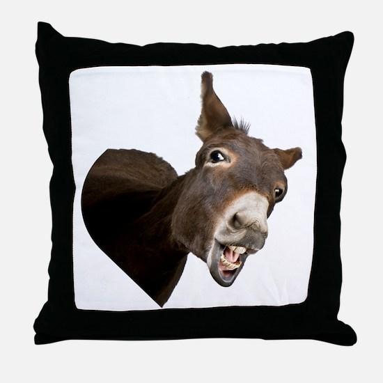 Heart Donkey Throw Pillow