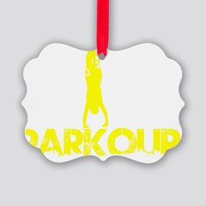 Parkour, Yellow, Stand Up! Picture Ornament