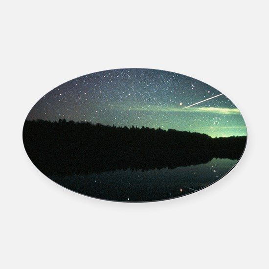 Meteor over lake Oval Car Magnet