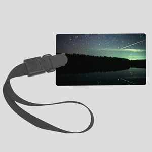 Meteor over lake Large Luggage Tag