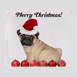 Merry Christmas Customizeable Pug Dog Throw Blanke