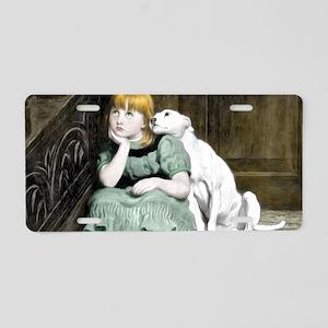 Dog Adoring Girl Victorian  Aluminum License Plate