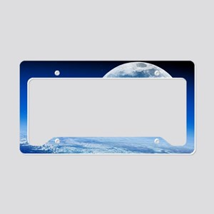 Moon rising over Earth's hori License Plate Holder