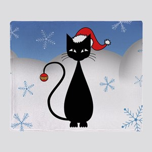 Christmas Cat with Snowflakes Throw Blanket