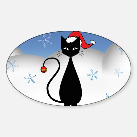 Christmas Cat with Snowflakes Sticker (Oval)
