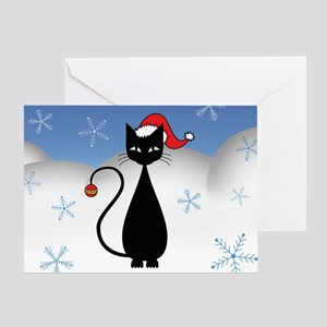 Christmas Cat with Snowflakes Greeting Card