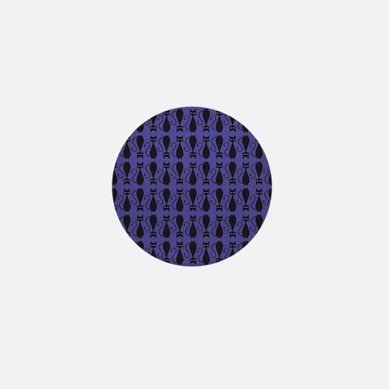 Purple and Black Goth Cat Pattern Mini Button
