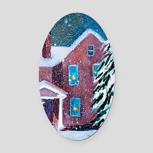 White Christmas Oval Car Magnet