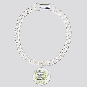 Be the Change - Green -  Charm Bracelet, One Charm