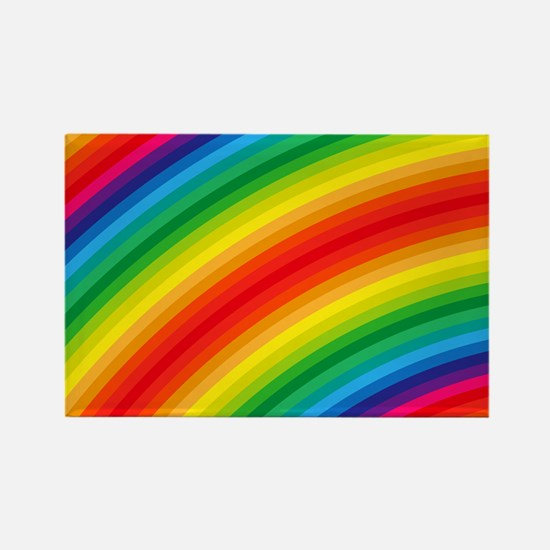 Rainbow Striped Pattern Rectangle Magnet