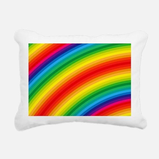 Rainbow Striped Pattern Rectangular Canvas Pillow