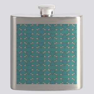 Turquoise Heart and Crossbones Pattern Flask