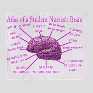 atlas student nurse brain PINK Throw Blanket