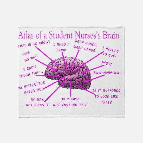 atlas student nurse brain PINK Throw Blanket