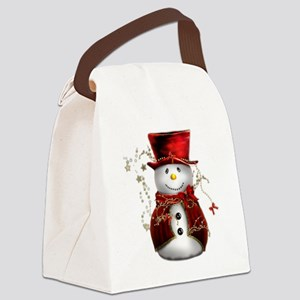 Red Snowman Canvas Lunch Bag