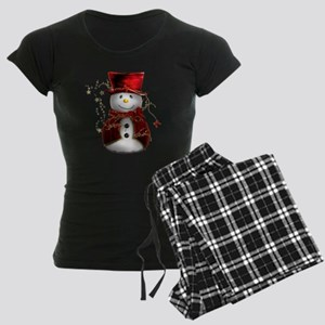 Red Snowman Women's Dark Pajamas
