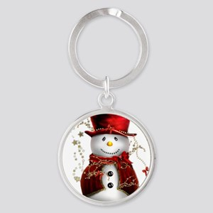 Red Snowman Round Keychain