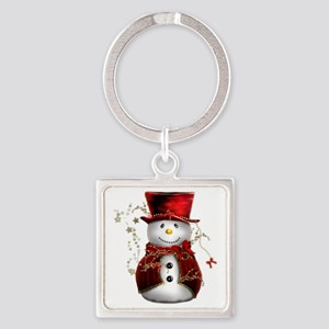 Red Snowman Square Keychain