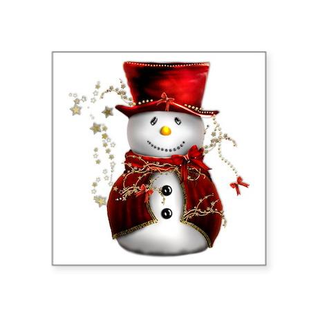"Red Snowman Square Sticker 3"" x 3"""