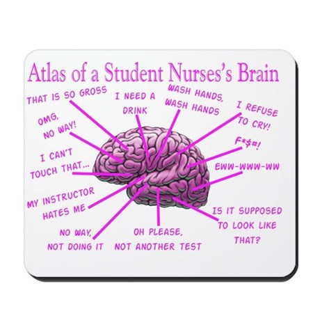 Atlas Student Nurse Brain Pink Mousepad By Admincp11157433