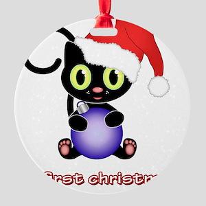 Christmas kitten first christmas Round Ornament