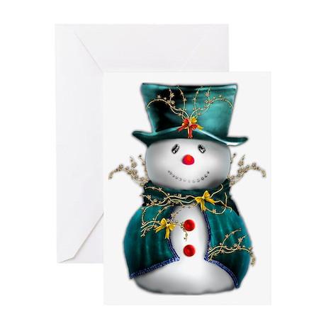 Cute Snowman in Green Velvet Greeting Card