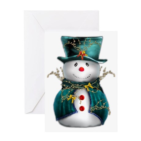 Cute Snowman in Green Velvet Greeting Card