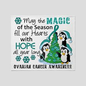 D Ovarian Cancer Christmas Penguins Throw Blanket