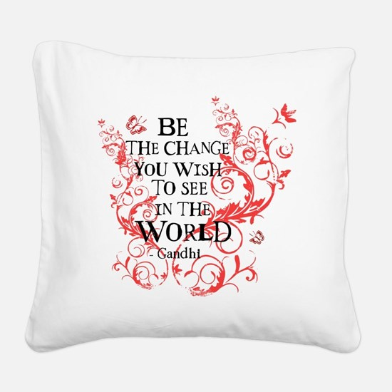 Be the Change - Red Vine - Li Square Canvas Pillow