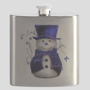 Cute Snowman in Blue Velvet Flask