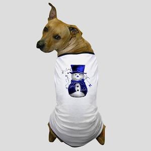 Cute Snowman in Blue Velvet Dog T-Shirt
