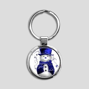 Cute Snowman in Blue Velvet Round Keychain