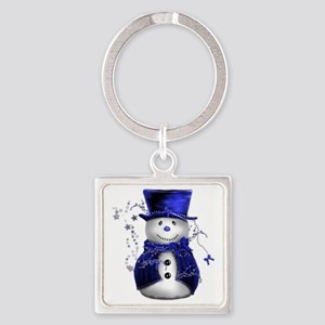 Cute Snowman in Blue Velvet Square Keychain