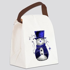 Cute Snowman in Blue Velvet Canvas Lunch Bag